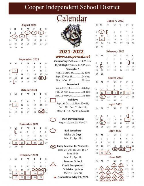 2021.2022 School Calendar