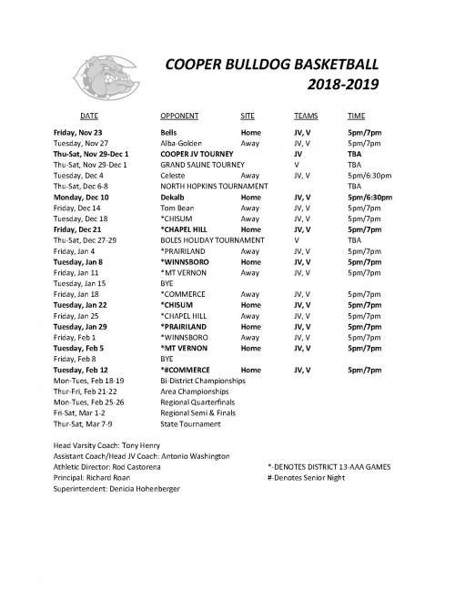 Bulldog Basketball Schedule