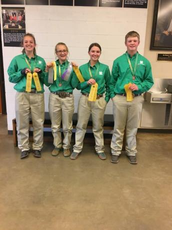 Senior team 3rd overall, 3rd placings and 3rd reasons. Team consisting of Carmen Wingert, Raylee Soell, Tyla Maness and Cuinton White