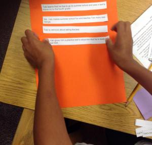 Order up story sequence in Mrs. Dutcher's class