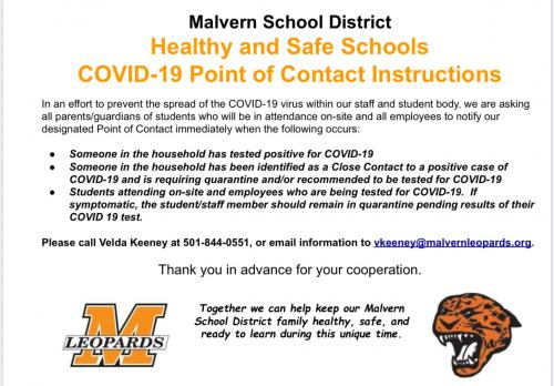 COVID-19 Contact Velda Keeney 501-844-0551 or vkeeney@malvernleopards.org