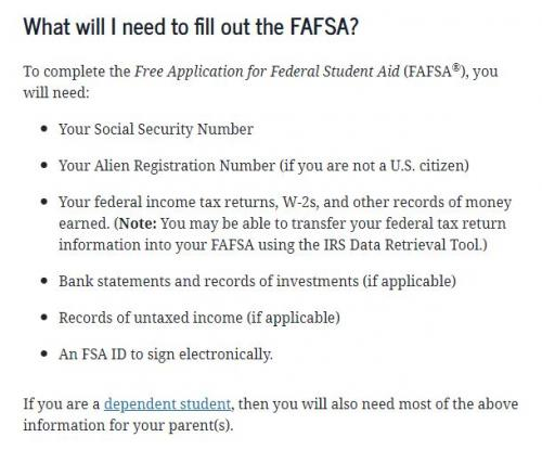 What will I need to fill out the FAFSA?