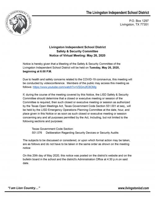 Safety & Security Meeting Notice
