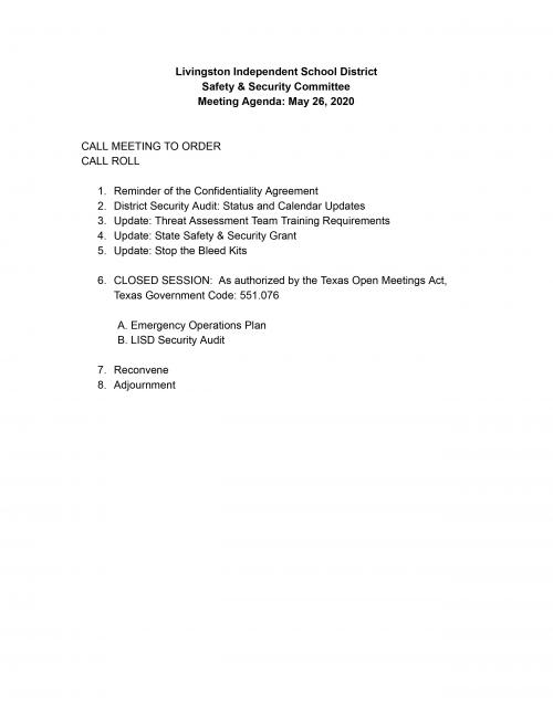 Safety & Security Meeting Agenda