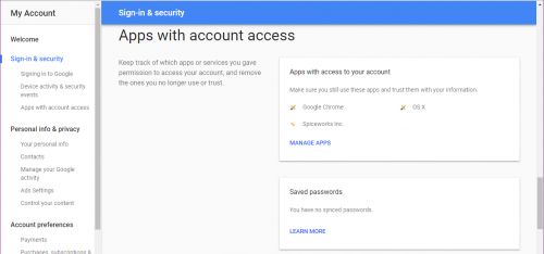 Google Apps and account access section