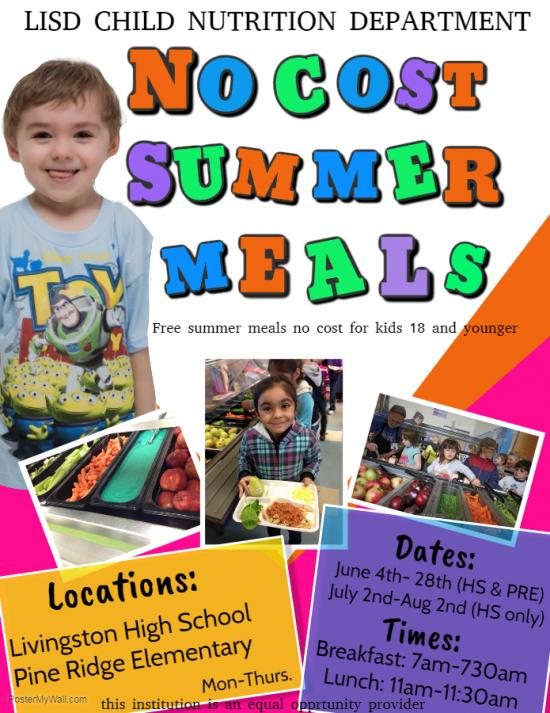 No Cost Summer Meal Flyer
