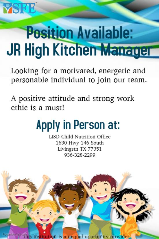 Position Available - Junior High Kitchen Manager