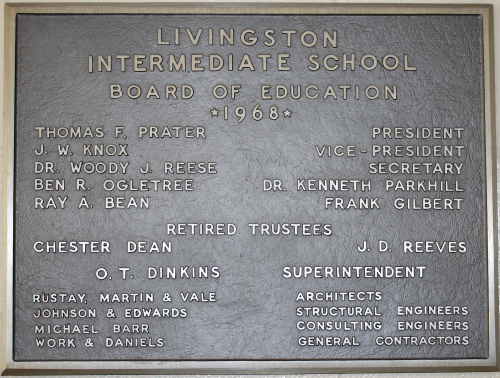 Plaque inside Timbercreek Elementary