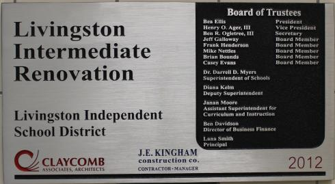Photo of the renovation plaque at Livingston Intermediate
