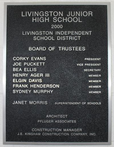 Photo of plaque at Livingston Junior High
