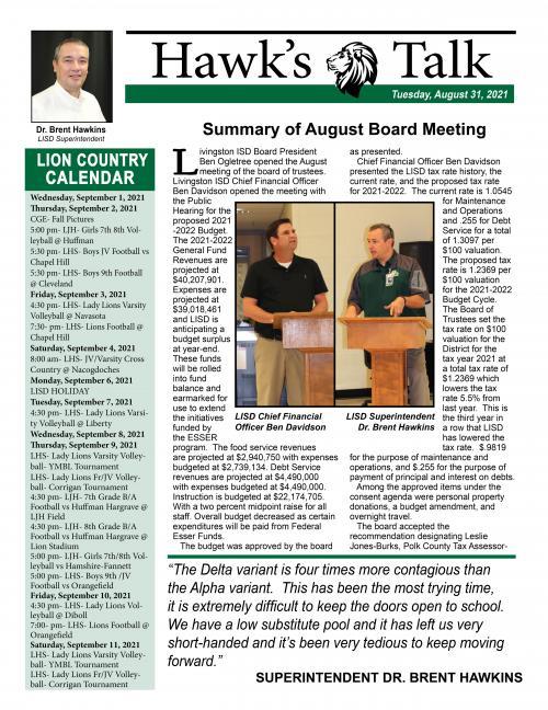 Hawk's Talk - Tuesday, August 31, 2021