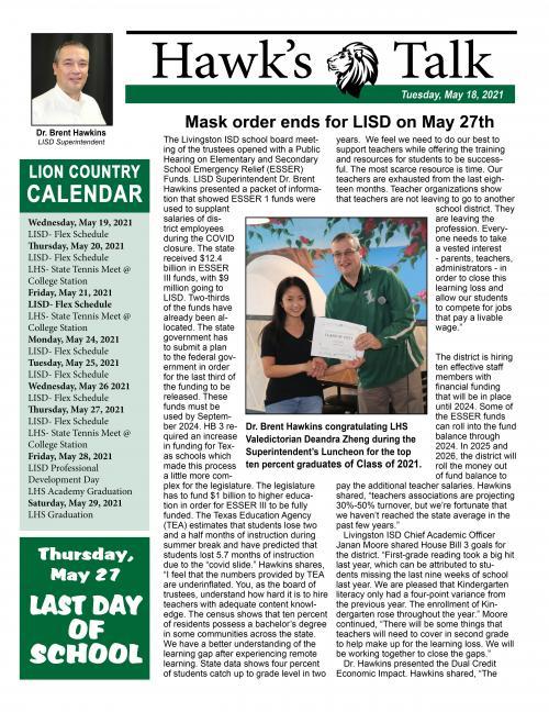 Tuesday, May 18, 2021 Hawk's Talk