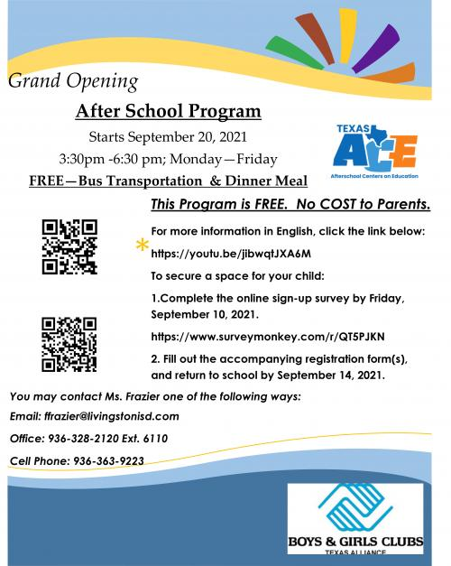 Flyer for After School Program (English)