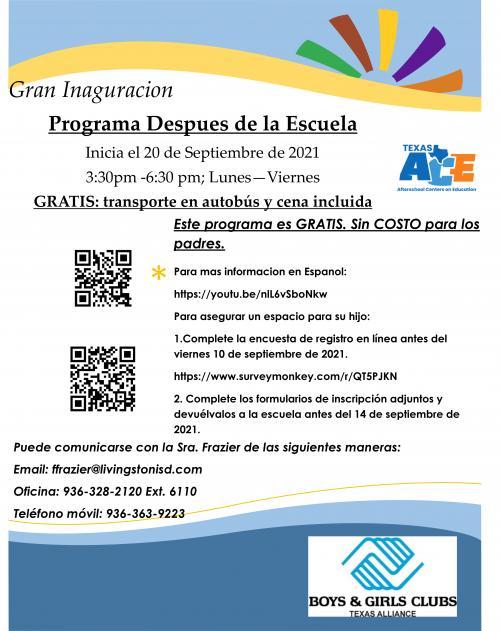 Flyer for After School Program (Spanish)