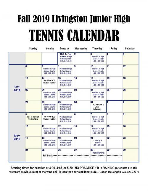 2019 Tennis Schedule