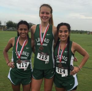 Incarnate Word Meet: (Left) Stephanie Trevino, 3rd Place; (Middle) Lauren Shaw, 5th Place; (Right) Tori Ortiz, 6th Place