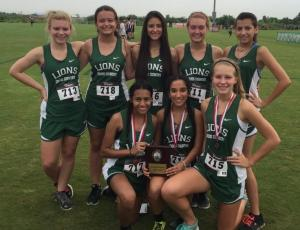 Incarnate Word Meet:  Girls' Team awarded 2nd Place overall:  (Back Row, L to R) Julie Johnson, Jernie Tricoche, Helen Solis, Charlie Fowler, Amanda Hernandez; (Front Row, L to R) Stephanie Trevino, Tori Ortiz, Lauren Shaw