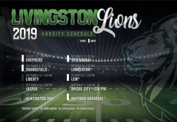 Varsity Lions Football schedule