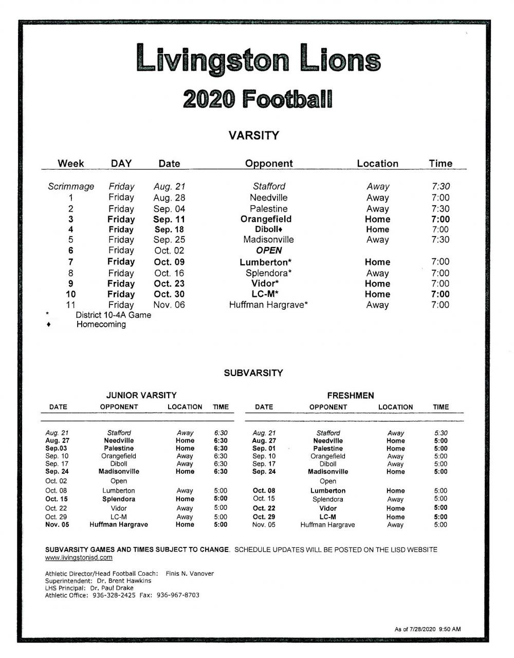 2020 LHS Football schedule