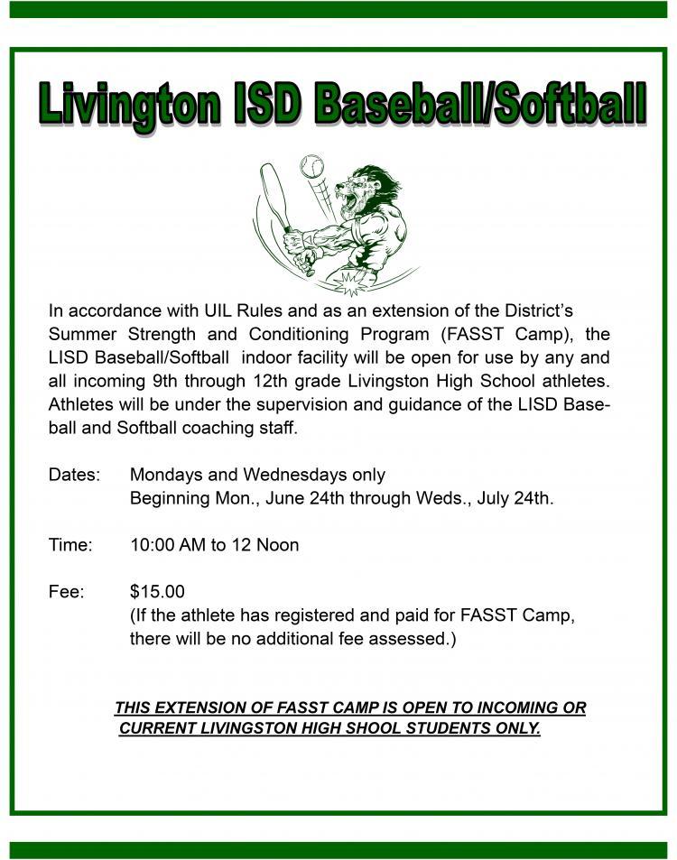 LISD Baseball-Softball Notice