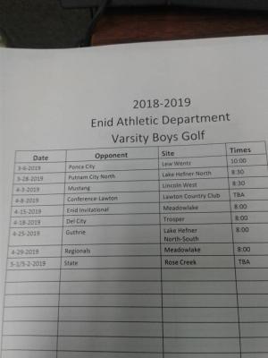2018-2019 Boys Golf Schedule