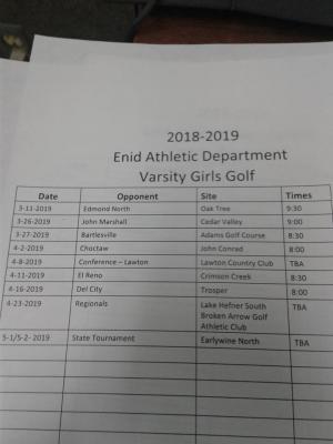 2018-2019 Girls Golf Schedule