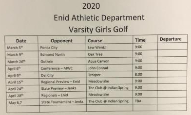 2019-20 Girls Varsity schedule
