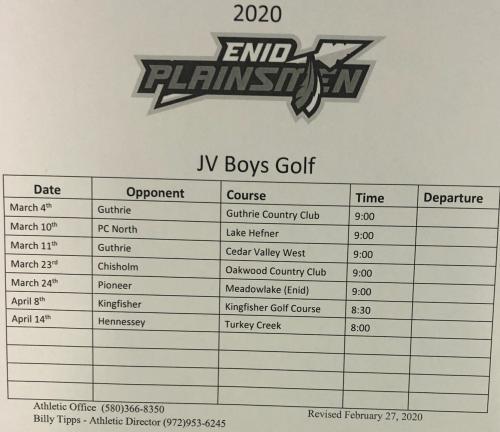 EHS JV Boys schedule 20-21