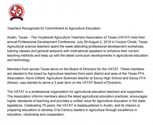 Kevin Dillard elected to the The Vocational Agriculture Teachers Association of Texas Board of Directors.