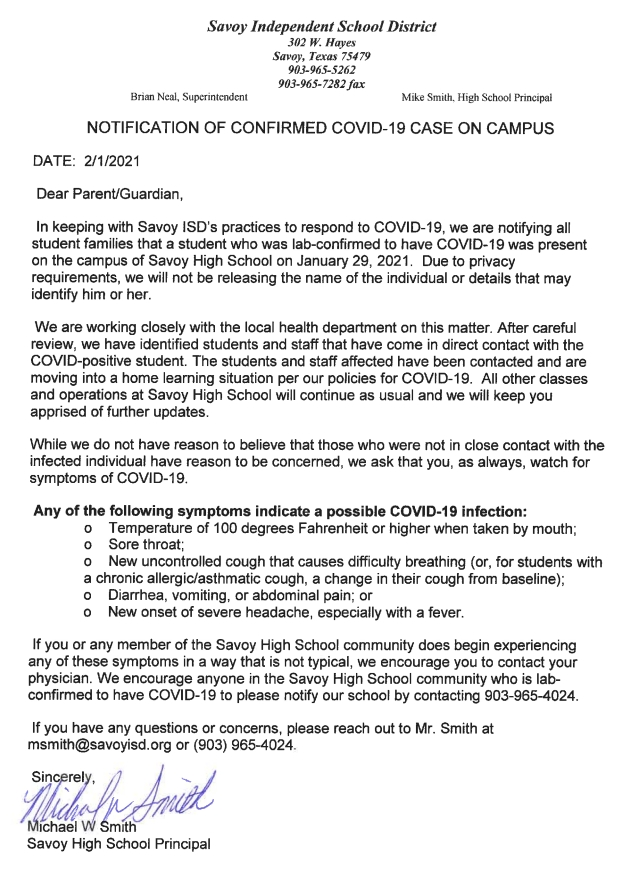 NOTIFICATION OF CONFIRMED COVID-19 CASE ON CAMPUS