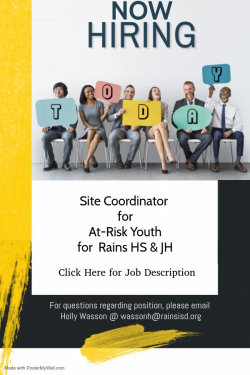 Now Hiring Site Coordinator for At-Risk Youth for Rains HS &JH
