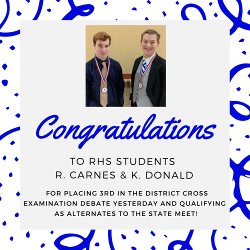 Congratulations to R. Carnes and K. Donald