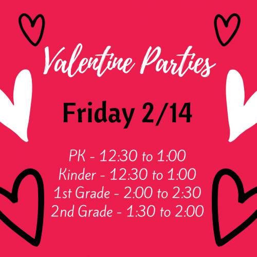 Valentine Parties Friday, 2/14