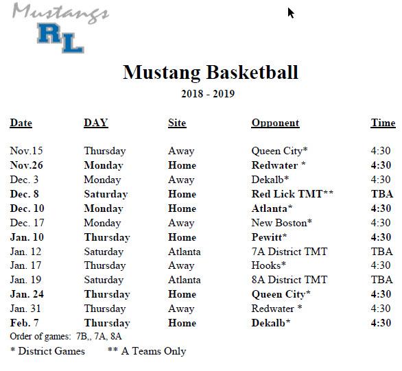 Boys Schedule