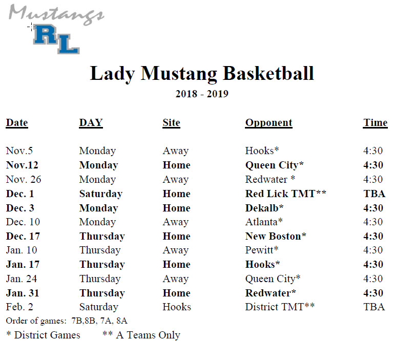 Girls Schedule