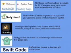 Sites & Apps given by your Pirate teachers