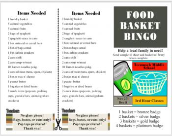 Food basket bingo