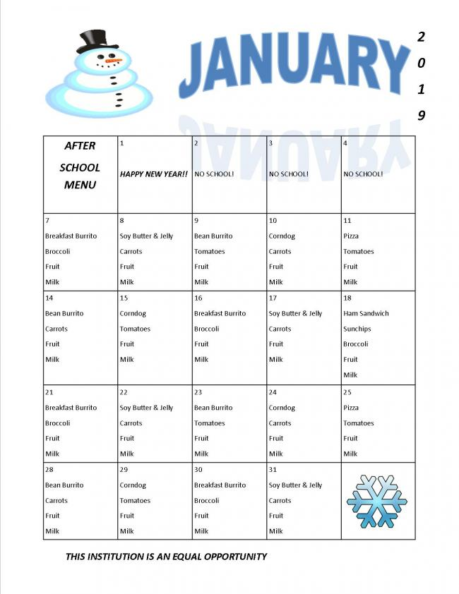 January after school menu