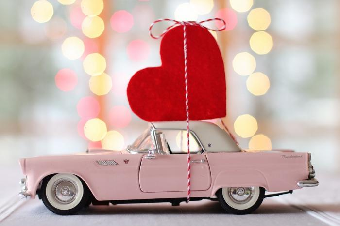 pink car with heart