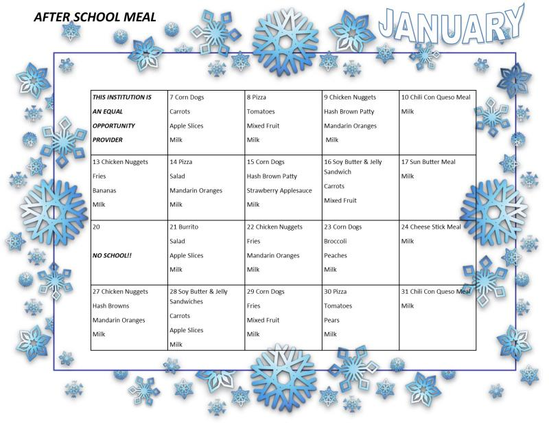 January after school meal menu