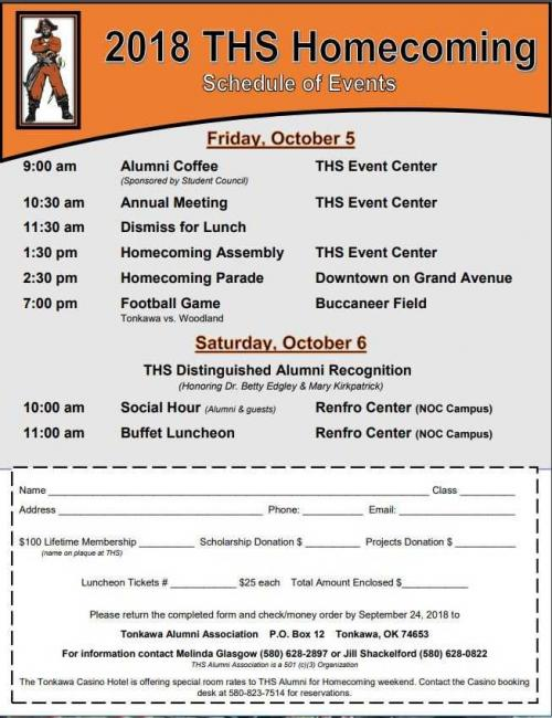 2018 Homecoming Schedule of Events