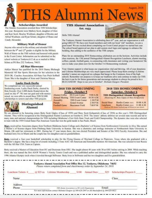 2018 THS Alumni Newsletter
