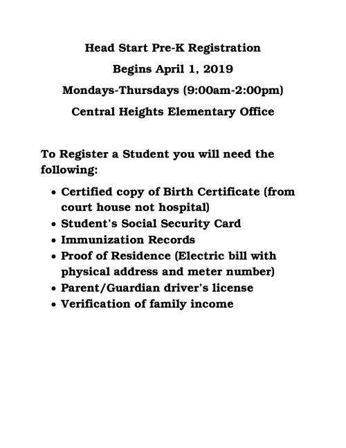Head Start Pre-K Registration Requirements
