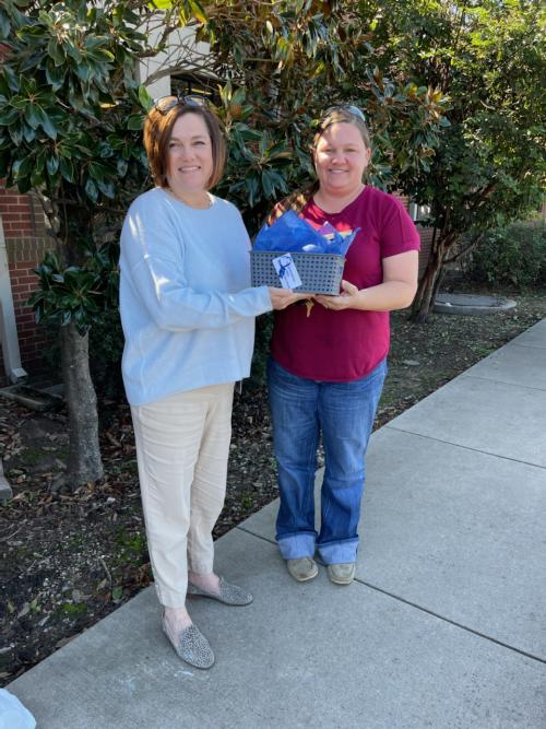 Employee of the Month:  Jennifer Lansford (on right) with Superintendent Melissa Bosley