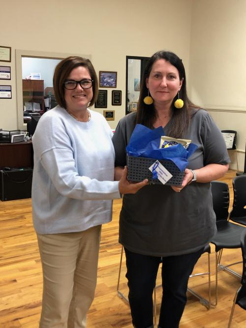 Employee of the Month Parapro Jennifer Lansford(right) shown with Superintendent Melissa Bosley(left)