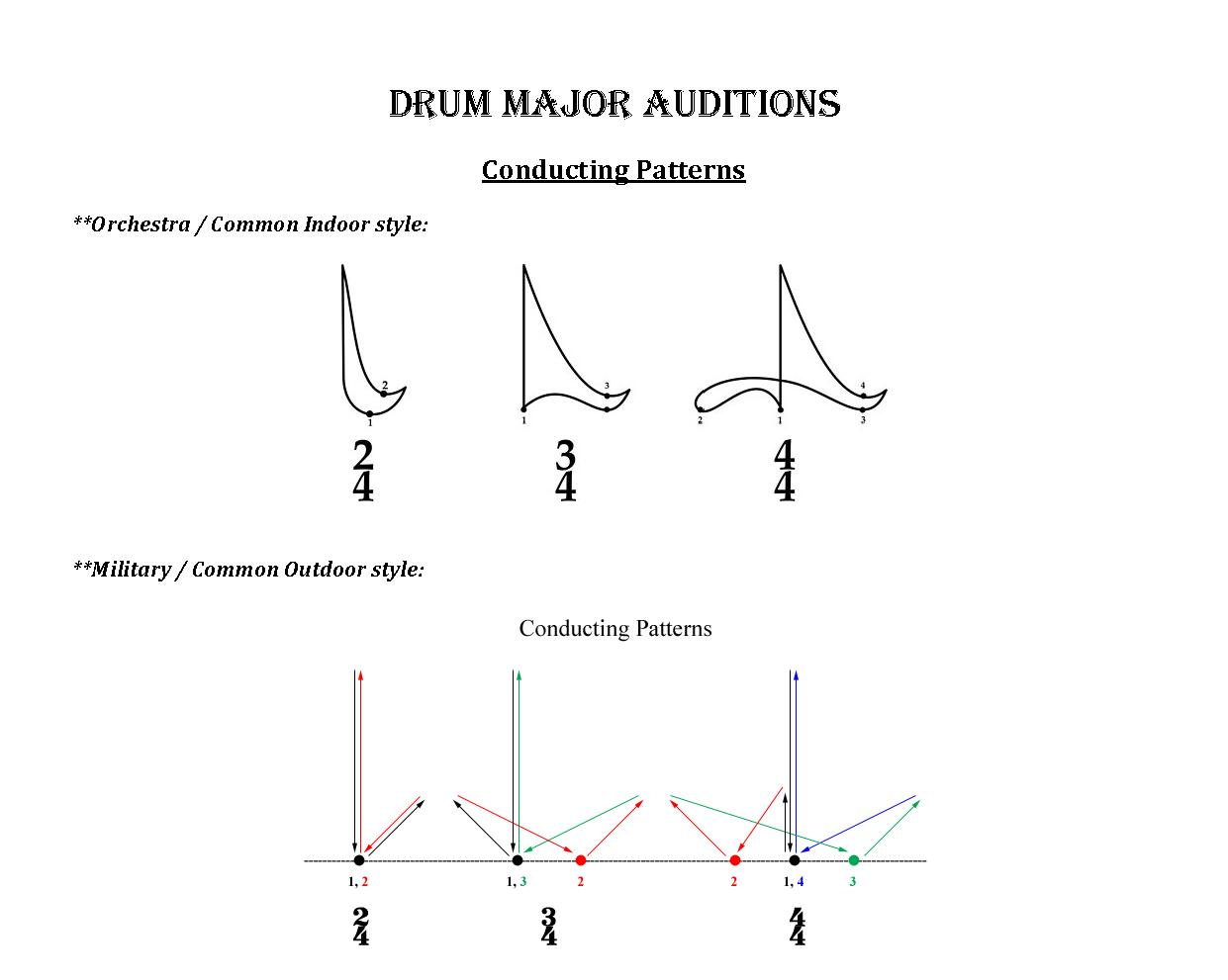 Drum Major Directing Patterns