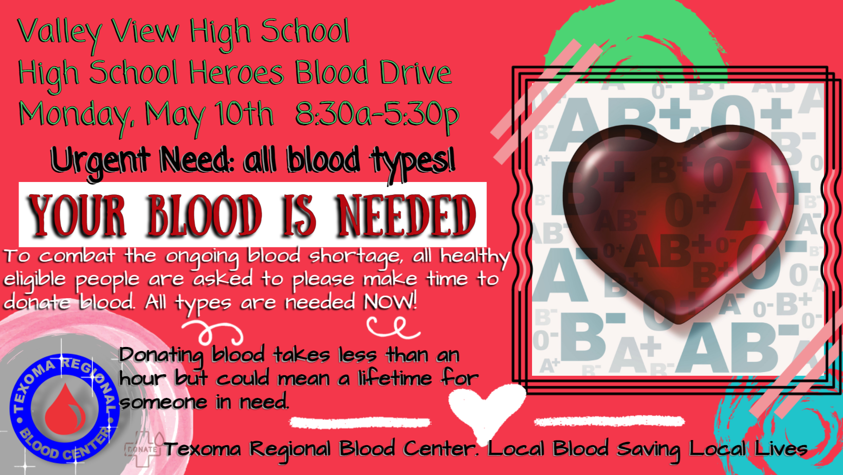 Flyer for the High School Heroes Blood Drive