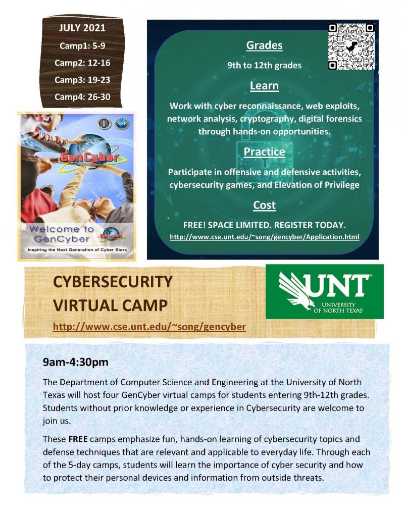 Cybersecurity Virtual Summer Camp in July