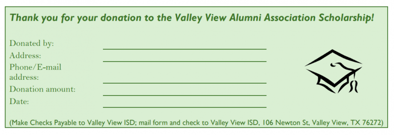 Valley View alumni scholarship form