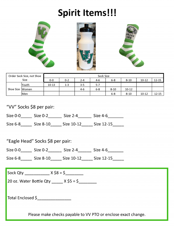 image of order form for socks and waterbottle